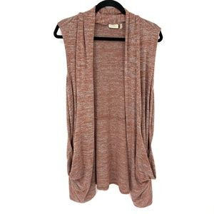LOGO Lori Goldstein Open Front Sweater Vest Red